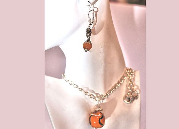 Orange & Black Marble Necklace and Earring Set