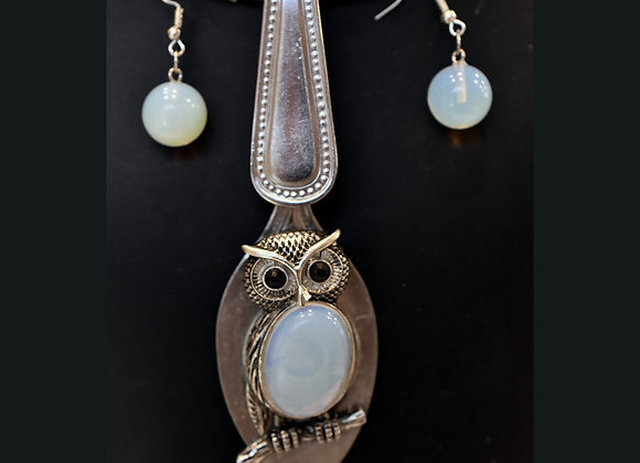 SilverWare-It-All Sea Opal Owl Spoon & Earring Set