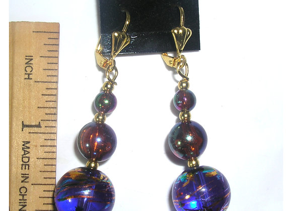 Blue Swirl 3-Bead Goldplated Leverback Earrings