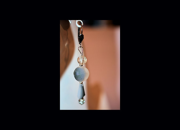 Fancy Faceted Smokey Gray Earrings