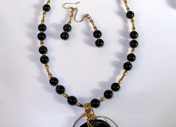 WireSculpted Blue Tigereye Necklace & Earring Set