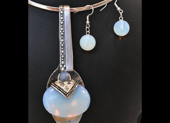 SilverWare-It-All Sea Opal Oval Spoon & Earring Set