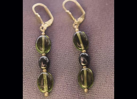 Olive Green & Metallic Bead Earrings