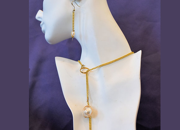 Faux Tahitian Pearl & Real Freshwater Pearls Chain Necklace & Earrings Set