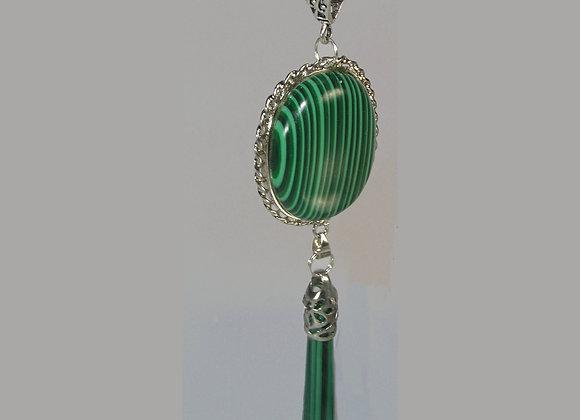 Malachite Framed Oval & Drop Needle Pendant