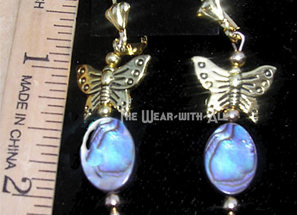 Petite Abalone Ovals & Goldtone Butterfly Earrings