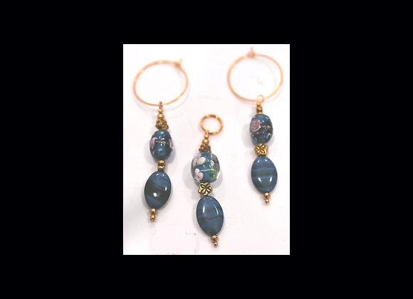 Blue & Pink Glass Pendant & Earring Set