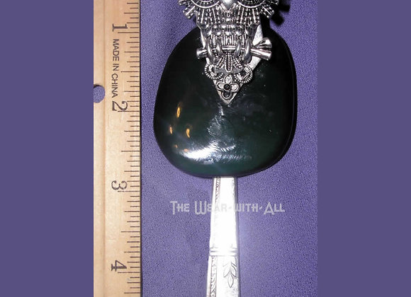 SilverWare-It-All Owl with Rainbow Obsidian Knife Pendant