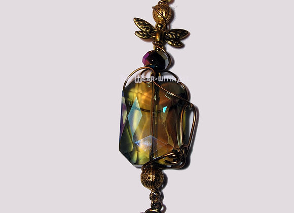 WireSculpted Rainbow Glass Dragonfly & Flower Pendant