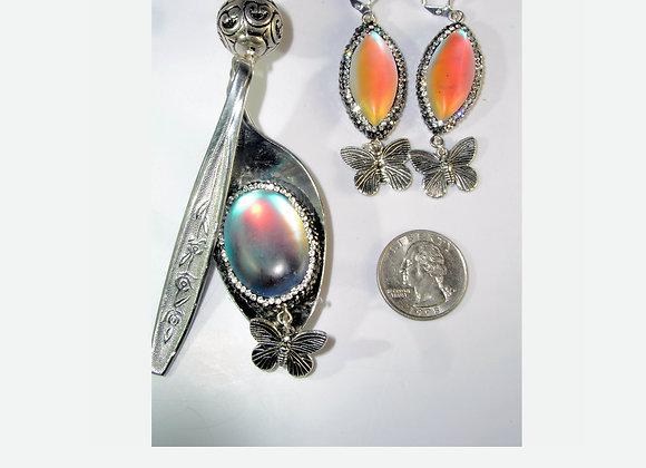 "SilverWare-It-All Rainbow ""Moonstone"" Spoon & Earring Set"