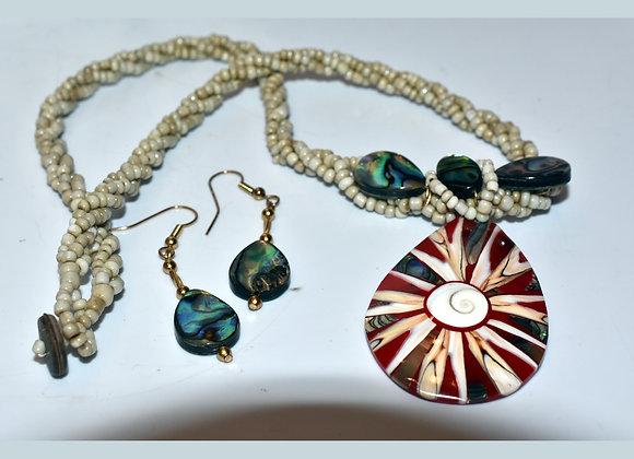 Red Eye of Shiva Large Teardrop Shell Necklace & Earring Set