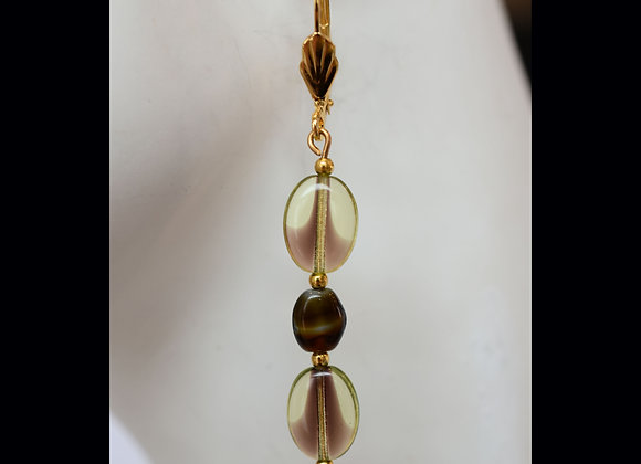 Olive Green/Brown Glass Earrings