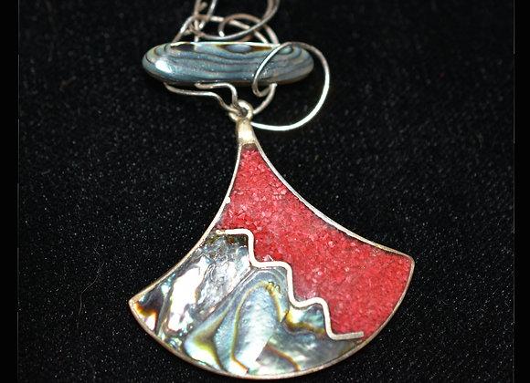Abalone & Repurposed Red Enamel Pendant