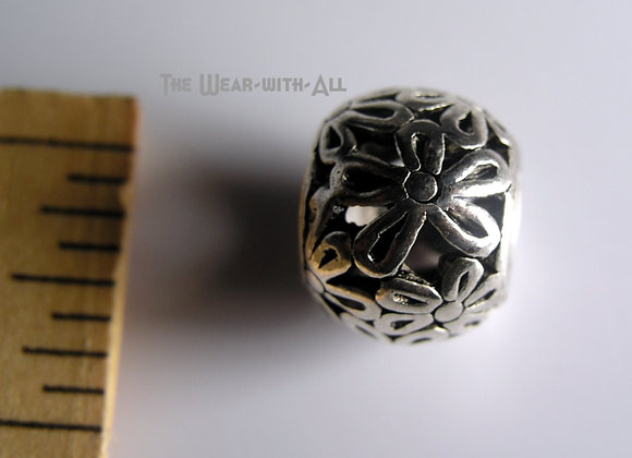 Large Hole Silverplate Daisy Chain Filigree Flower Bead