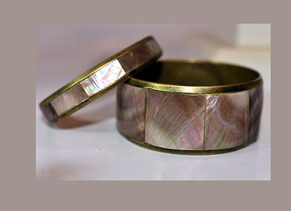 Vintage Inlaid Shell / 2 Bangle & Brass Bracelets