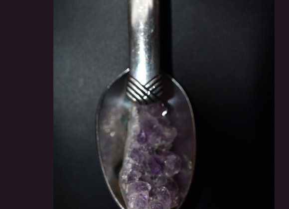 SilverWare-It-All Amethyst Geode in Deco-Design Spoon