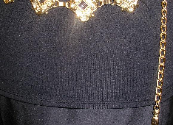 Crystal-Embellished Coat-of-Arms Goldtone Chain Belt
