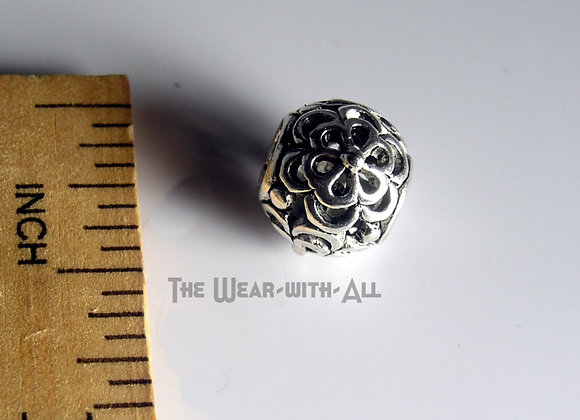 Large Hole Silverplate Embossed Filigree Flower Beads