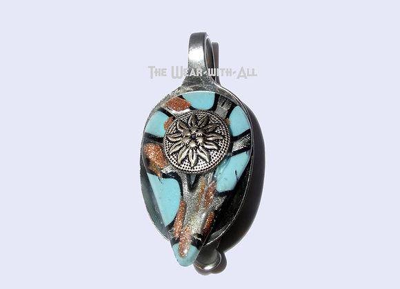 Ocean Blue & Copper Dichroic Glass Spoon Pendant