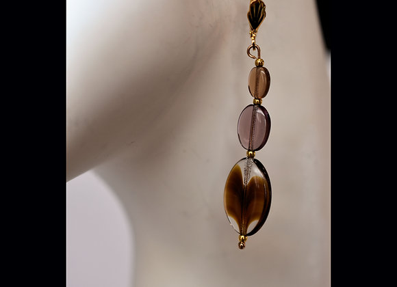 Brown & Clear Glass Earrings