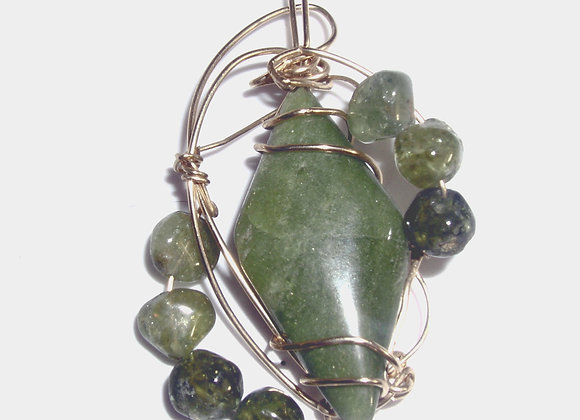 Green Garnet with Beads Pendant