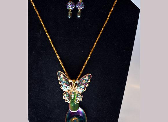 SilverWare-It-All Jeweltone Butterfly & Rainbow Spoon Necklace & Earring Set