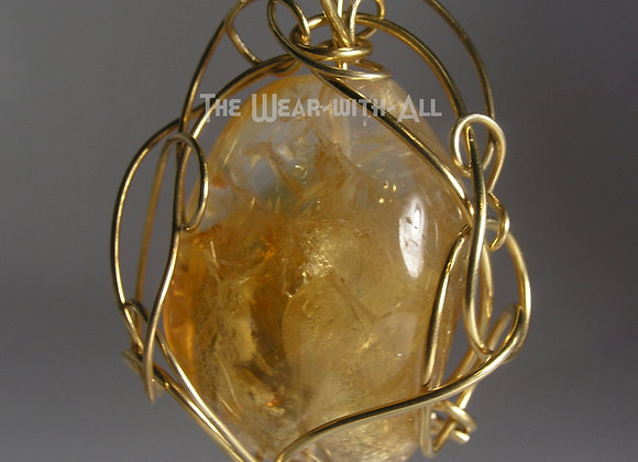 Large High-Quality Citrine with Swirls of Goldbond Wire