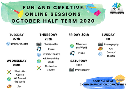 FUN AND CREATIVE ONLINE SESSIONS OCTOBER