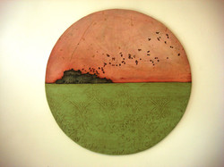 'Island House (M'aidez)' 2009. Oil on board 80cms diameter