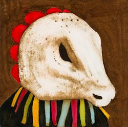 'Self Portrait in a Ritual Mask' (iii) Oil on board. 30 x 30cms