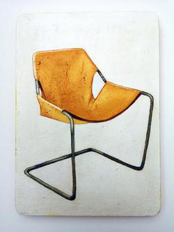 'Paulistano Chair by Paolo Mendes de Rocha' 2019. Oil on board. 23 x 16