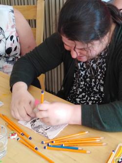 Natasha enjoys drawing and mark-making