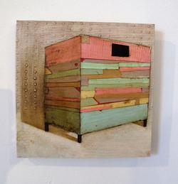 Watchbox (ii), 22 x 18cms, Oil, Collage & Acrylic on Board, 2013