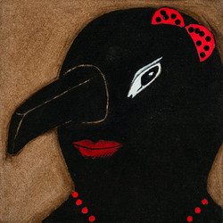 'Self Portrait in a Ritual Mask' (ii) Oil on board. 30 x 30 cms