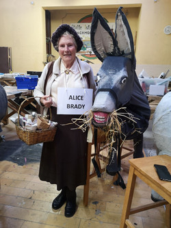 Ellie dressed up as Alice Brady, a well know local shop owner