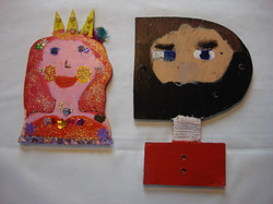 Two finished self portraits. Acrylic & mixed media on MDF