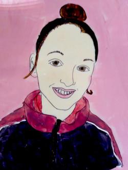Self portrait by Cora. Acrylic on Acetat
