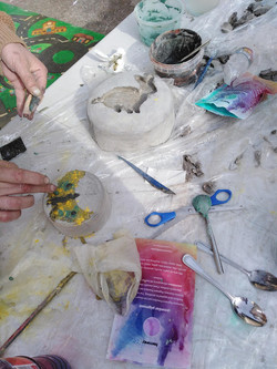 Creating the cement sculptures