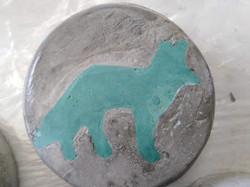 Fox, coloured cement 20 cms diam.
