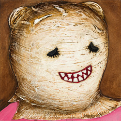 'Self Portrait in a Ritual Mask' (i) Oil on board. 30 x 30 cms