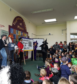 The 'Ringmaster' welcomes the children.