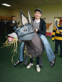 One of three donkey riders