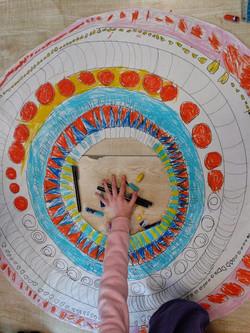 Making Mandalas for Buddhism Month.  Pap