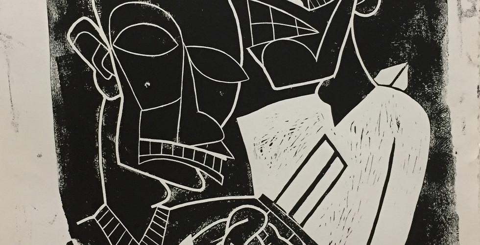 Generational Hatred Linoleum Block Art Print