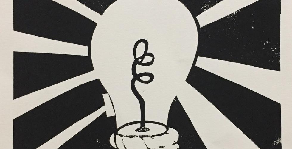 Mr. Big Idea Linoleum Block Art Print