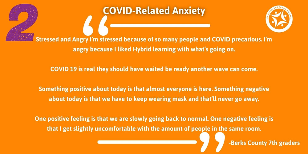 Quotes Saying: Stressed and Angry I'm stressed because of so many people and COVID precarious. I'm angry because I liked Hybrid learning with what's going on.  COVID 19 is real they should have waited be ready another wave can come.  Something positive about today is that almost everyone is here. Something negative about today is that we have to keep wearing mask and that'll never go away.  One positive feeling is that we are slowly going back to normal. One negative feeling is that I get slightly uncomfortable with the amount of people in the same room.