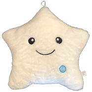 Bright White Star Pillow with White Back