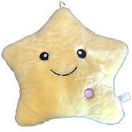 Sunshine Yellow Star Pillow with White B