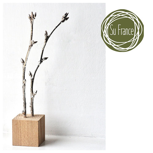 Cherry Twig Silver and Oak Sculpture
