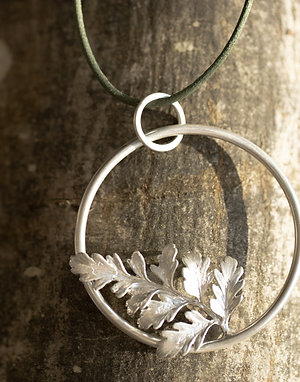 Fern Leaf on Circle Pendant